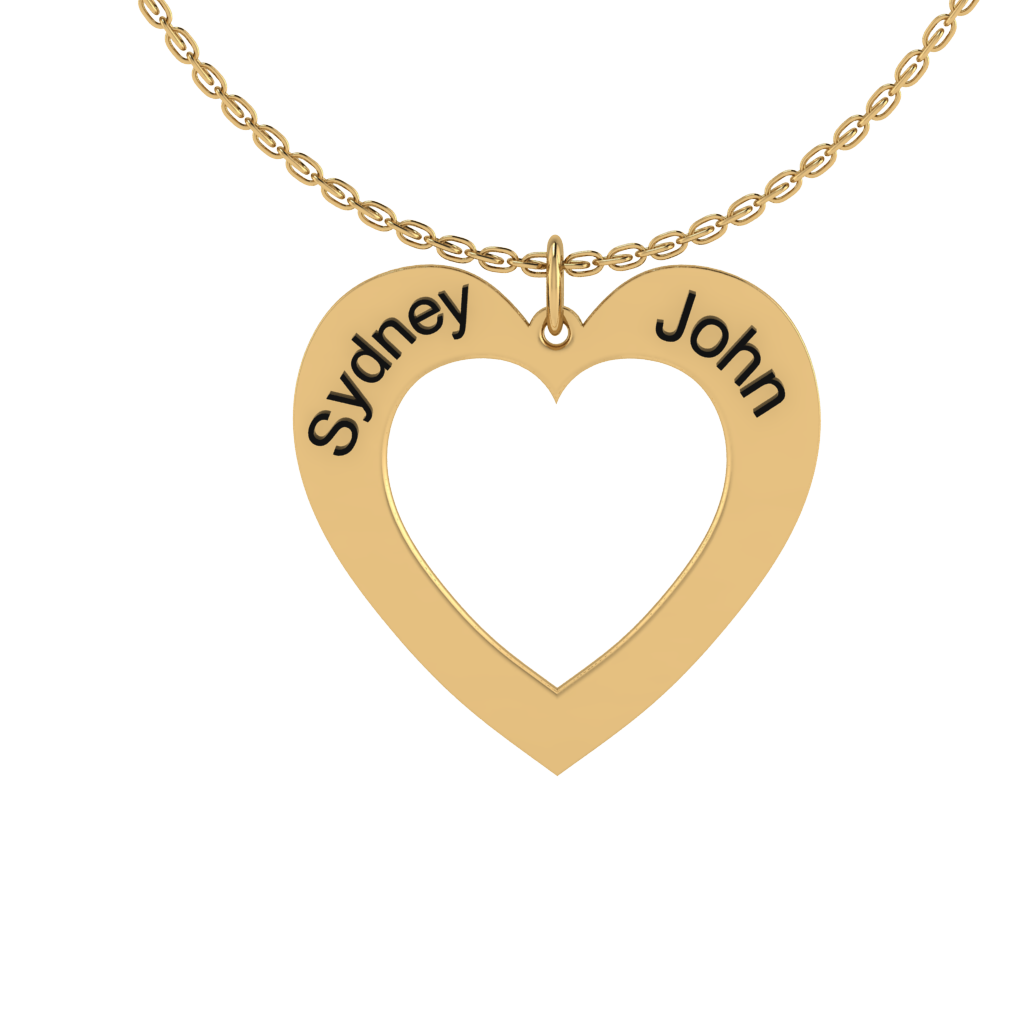 Name Engraved Heart Necklace