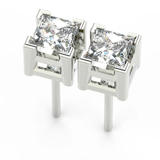 Princess Cut Diamond Earring For Women