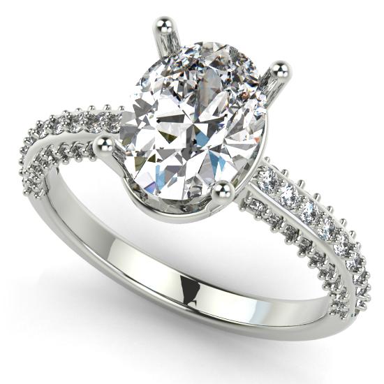 Cushion Cut Diamond White Gold Halo Eengagement Ring