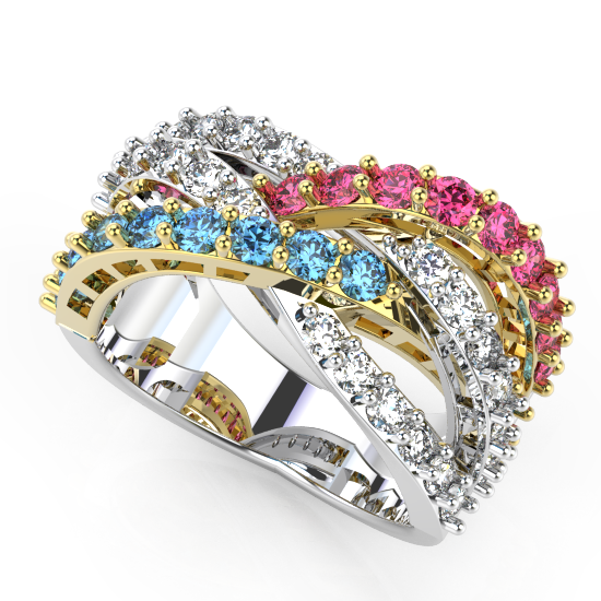 Crystal Red And Blue Diamond Wedding Ring For Women