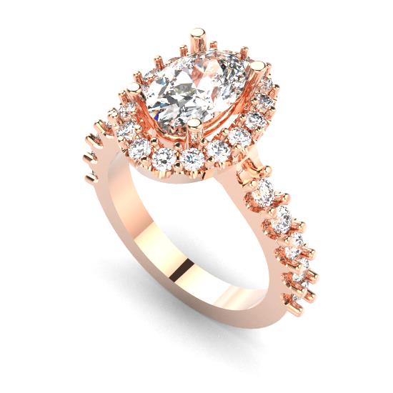 Rose Gold Cushion Cut Diamond Halo Eengagement Ring