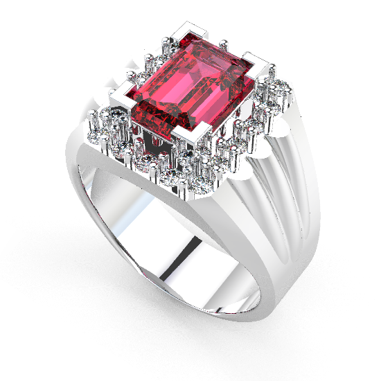 Red Color Diamond Ring For Men