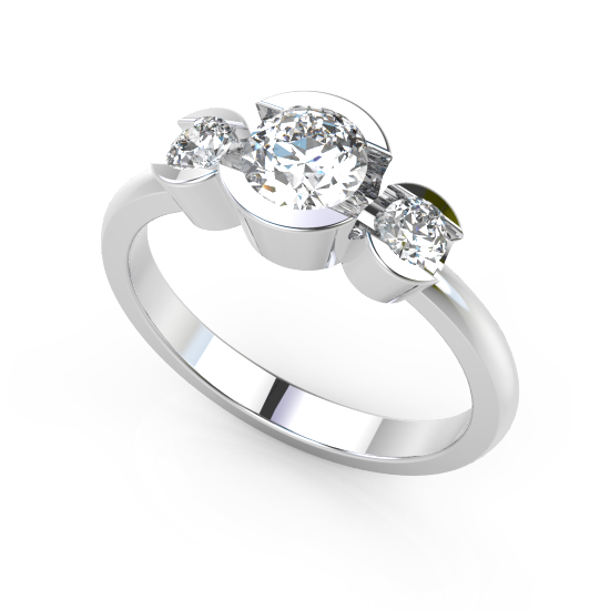 Stylish Three Fancy Cut Diamond Brushed Wedding Ring