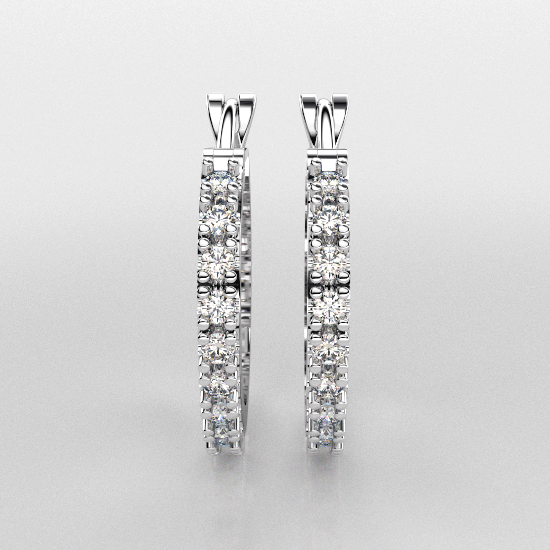 Smart Solitaire White Gold Earring For Women
