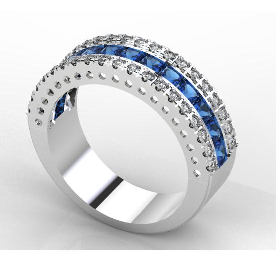 Princess Cut Blue Diamond Wedding Ring For Women