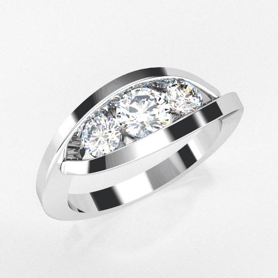 3 Fancy Cut Diamond Brushed Ring For Women