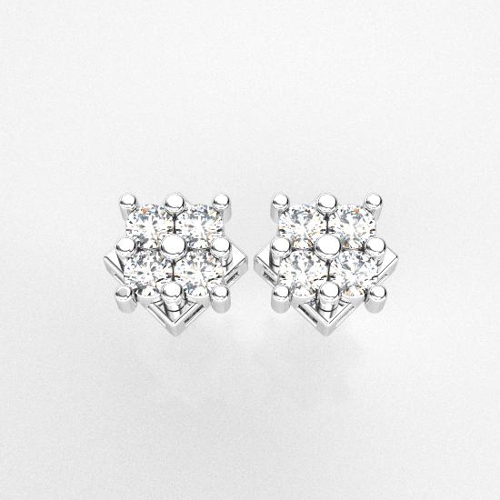 Flower Frame 4 Fancy Cut Diamond Earring For Women