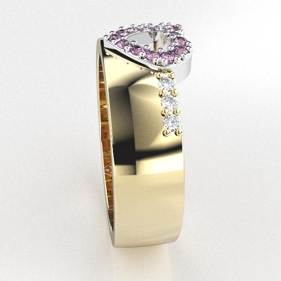 Love Shape Diamond Solitaire  Ring For Women