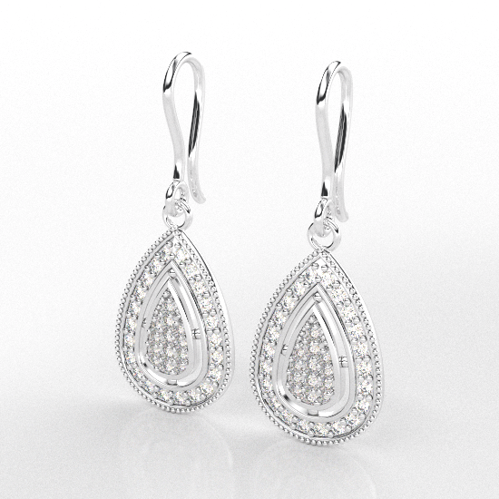 Classic White Gold Diamond Earring For Women