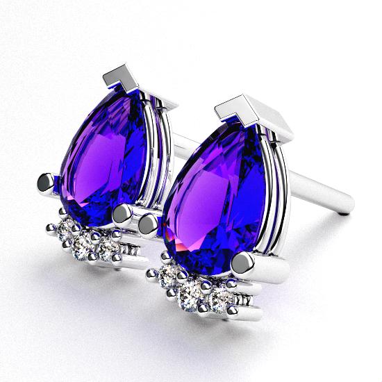 Smart Pear Cut Blue Diamond Earring For Women