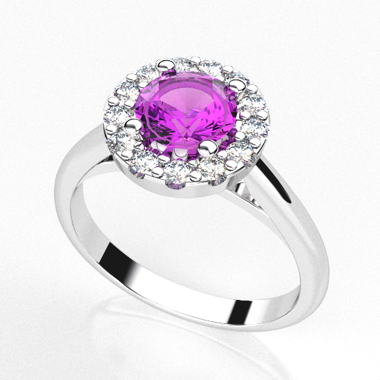 Flower Frame Round Cut Color Stone Ring For Women
