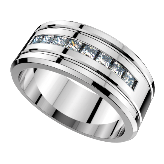 8 Princess Cut Diamond Wedding Ring For Men