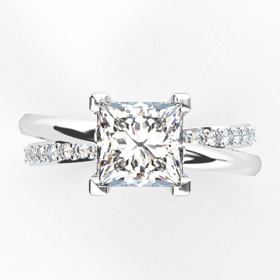 Stylish Princess Cut Engagement Ring