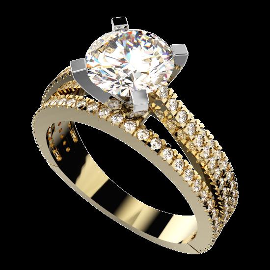 101 Diamond Triple Row Solitary Ring