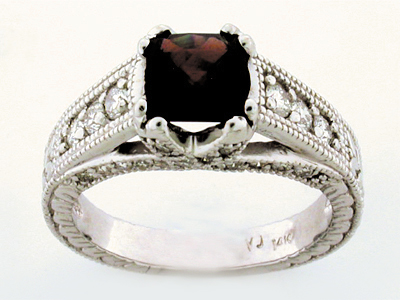14K COL STONEANTIC RING