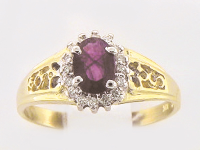 10K COLORSTONE CLUSTER RING