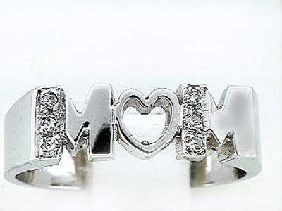 14K WHITE GOLD MOM RING
