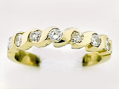14K 8 STONE TWISTED RING