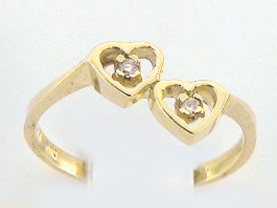10K 2 HEART MINI 2 DIA RING