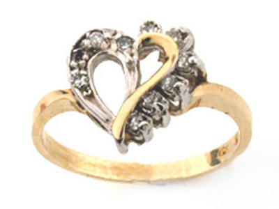 10K 9 DIA HEART RING