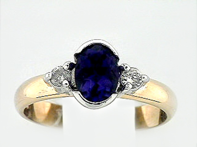 14K 2 DIA OVAL COLOR RING