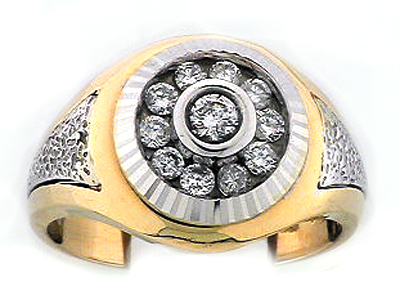 18K DIA CUT GENT RING