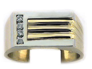 14K 2 TONE 4 DIA MEN RING