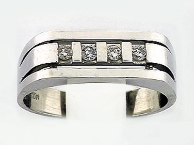 14K WHITE GOLD 4 DIA MEN RING