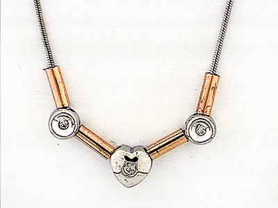 14K ROUND+HEART SHAPE NECKLACE