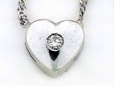 14K WHITE GOLD HEART PEND