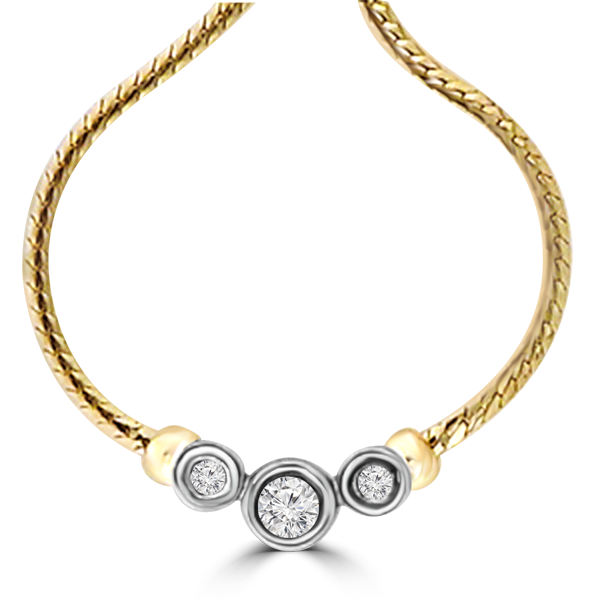 14K 3 DIAMOND NECKLES