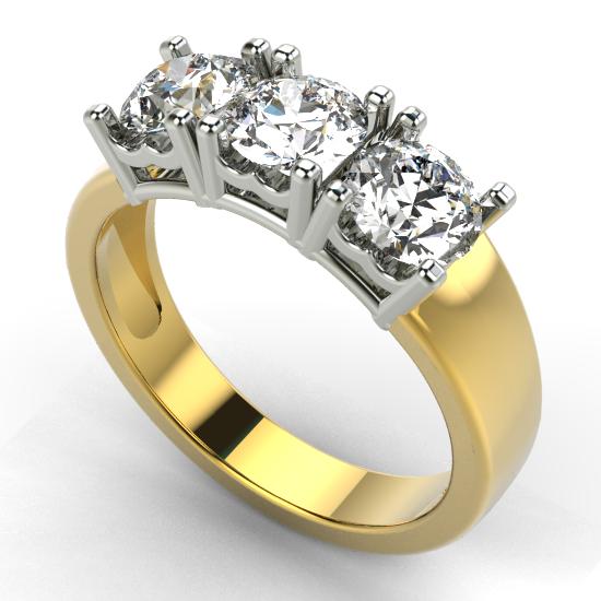 Classic Three Fancy Cut Diamond Brushed Wedding Ring
