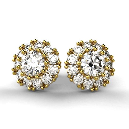 Attractive Flower Frame Fancy Cut Diamond Earring