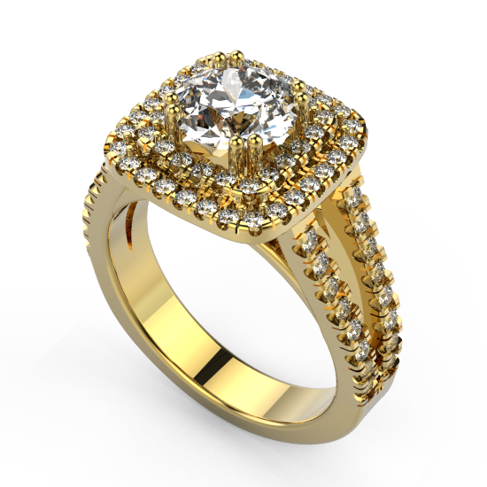 Attractive Looking Double Row Halo Engagement Ring