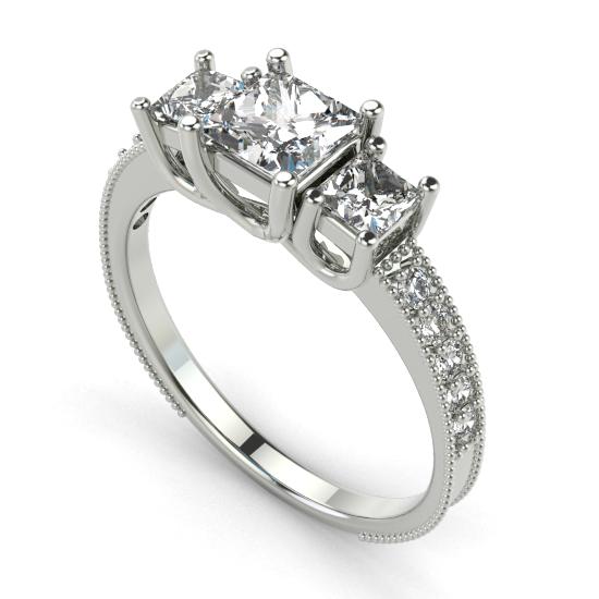 Elegant Designer Three Princess Cut Diamond Wedding Ring
