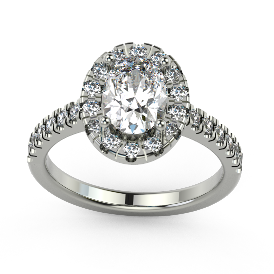 Elegant Cushion Cut Diamond Halo Eengagement Ring