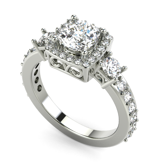 Cushion Cut Diamond Halo Eengagement Ring